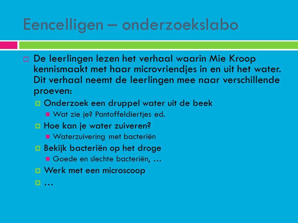Eencelligen – onderzoekslabo  De leerlingen lezen het verhaal waarin Mie Kroop kennismaakt met haar microvriendjes in en uit het water. Dit verhaal n
