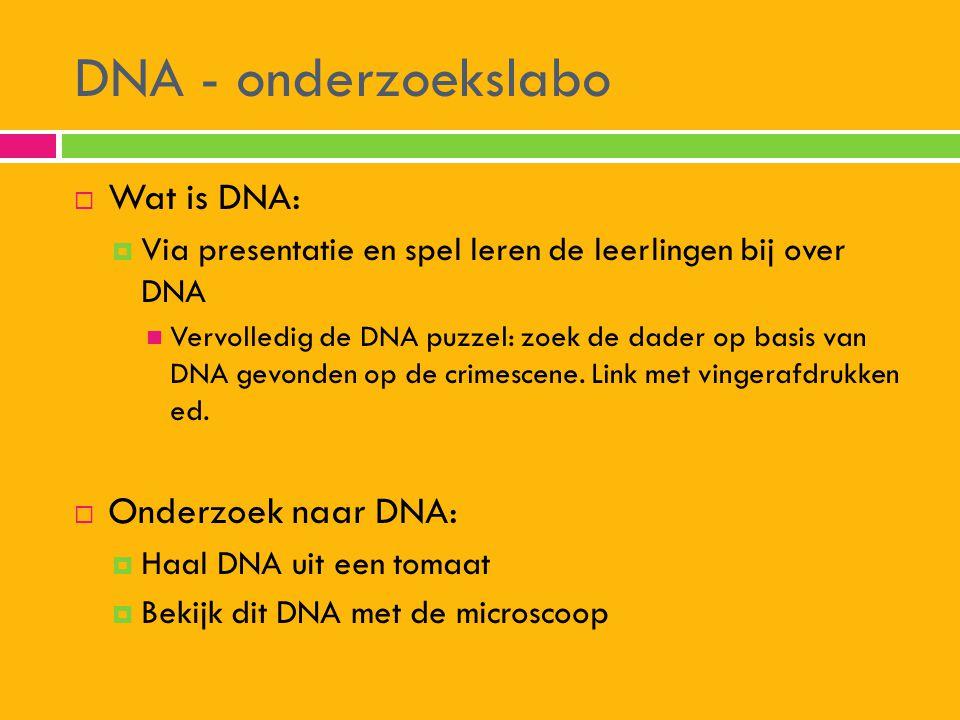 DNA - onderzoekslabo  Wat is DNA:  Via presentatie en spel leren de leerlingen bij over DNA  Vervolledig de DNA puzzel: zoek de dader op basis van