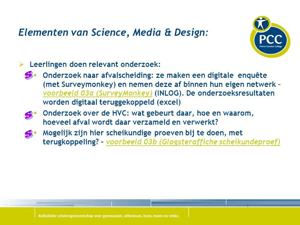 Elementen van Science, Media & Design:  Leerlingen doen relevant onderzoek:  Onderzoek naar afvalscheiding: ze maken een digitale enquête (met Surve
