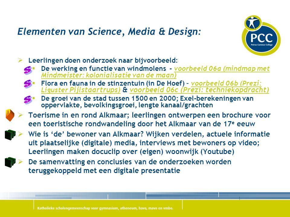 Elementen van Science, Media & Design:  Leerlingen doen onderzoek naar bijvoorbeeld:  De werking en functie van windmolens - voorbeeld 06a (mindmap