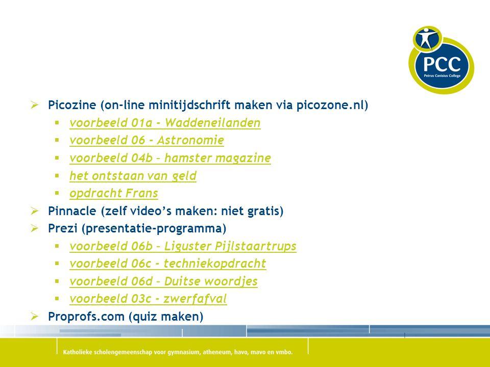  Picozine (on-line minitijdschrift maken via picozone.nl)  voorbeeld 01a - Waddeneilanden voorbeeld 01a - Waddeneilanden  voorbeeld 06 - Astronomie