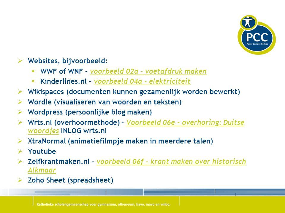 Websites, bijvoorbeeld:  WWF of WNF – voorbeeld 02a – voetafdruk makenvoorbeeld 02a – voetafdruk maken  Kinderlines.nl – voorbeeld 04a - elektrici