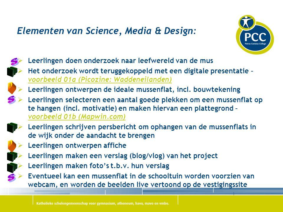 Elementen van Science, Media & Design:  Leerlingen doen onderzoek naar leefwereld van de mus  Het onderzoek wordt teruggekoppeld met een digitale pr