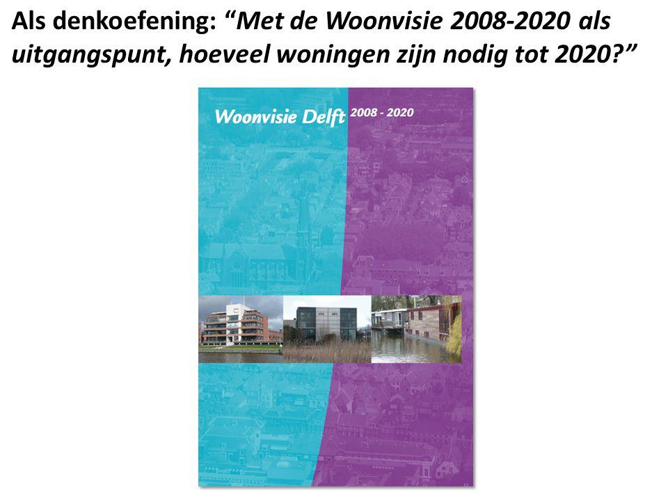 Als denkoefening: Met de Woonvisie 2008-2020 als uitgangspunt, hoeveel woningen zijn nodig tot 2020