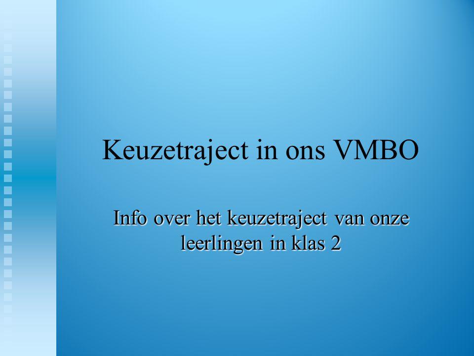 Keuzetraject in ons VMBO Info over het keuzetraject van onze leerlingen in klas 2