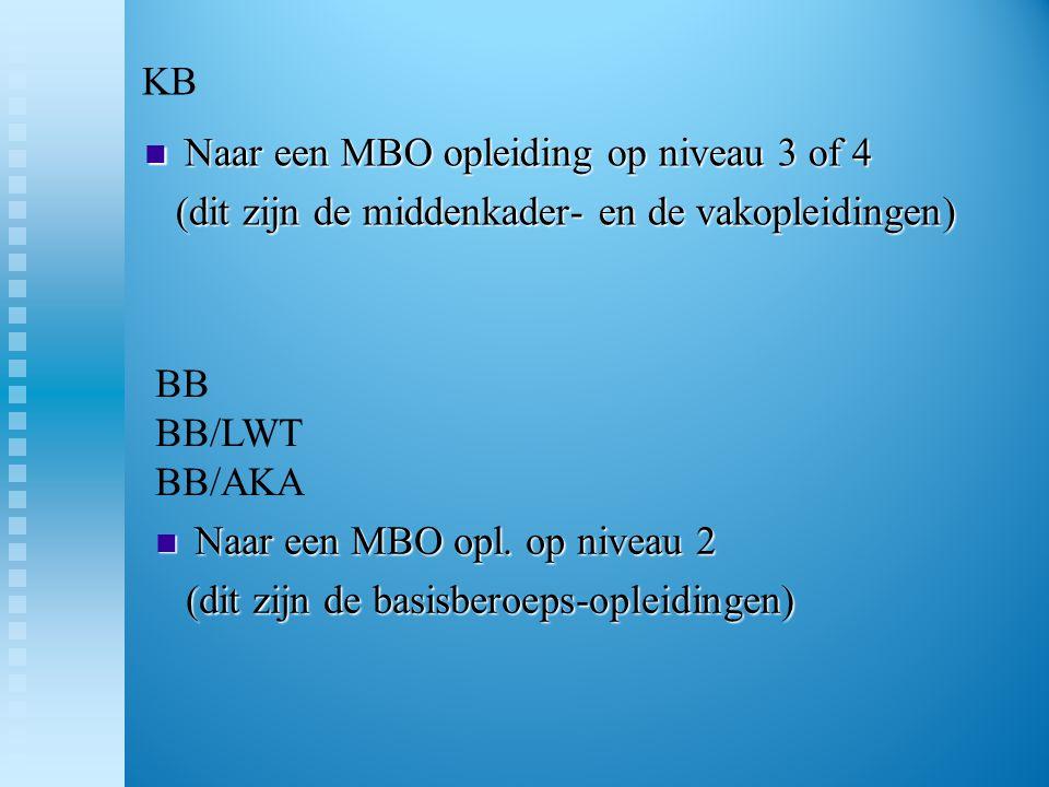 KB  Naar een MBO opleiding op niveau 3 of 4 (dit zijn de middenkader- en de vakopleidingen) (dit zijn de middenkader- en de vakopleidingen)  Naar ee