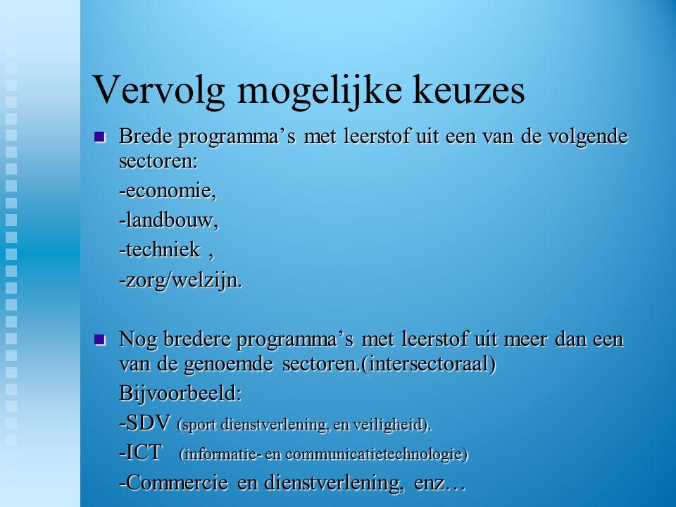 Ons aanbod Brede sectorprogramma's:  Economie  Techniek  Zorg en Welzijn Intersectoraal programma:  ICT