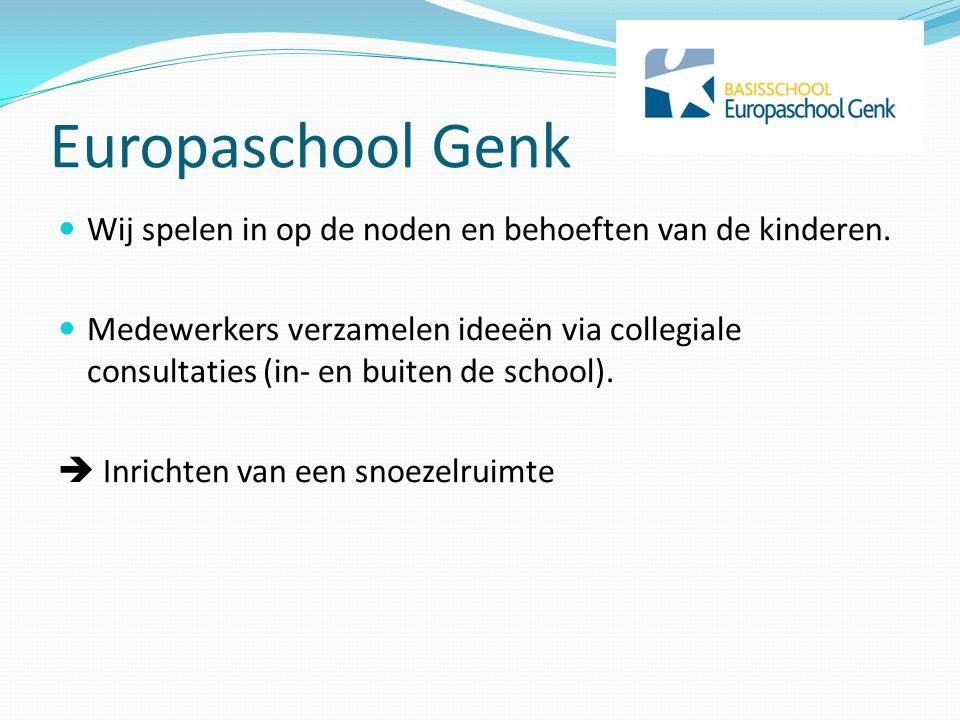 Europaschool Genk  Wij spelen in op de noden en behoeften van de kinderen.  Medewerkers verzamelen ideeën via collegiale consultaties (in- en buiten