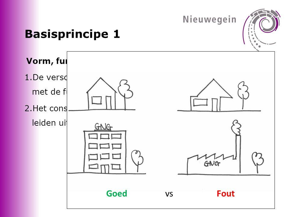 Basisprincipe 1 Vorm, functie en constructie 1.De verschijningsvorm moet een logische relatie hebben met de functie.