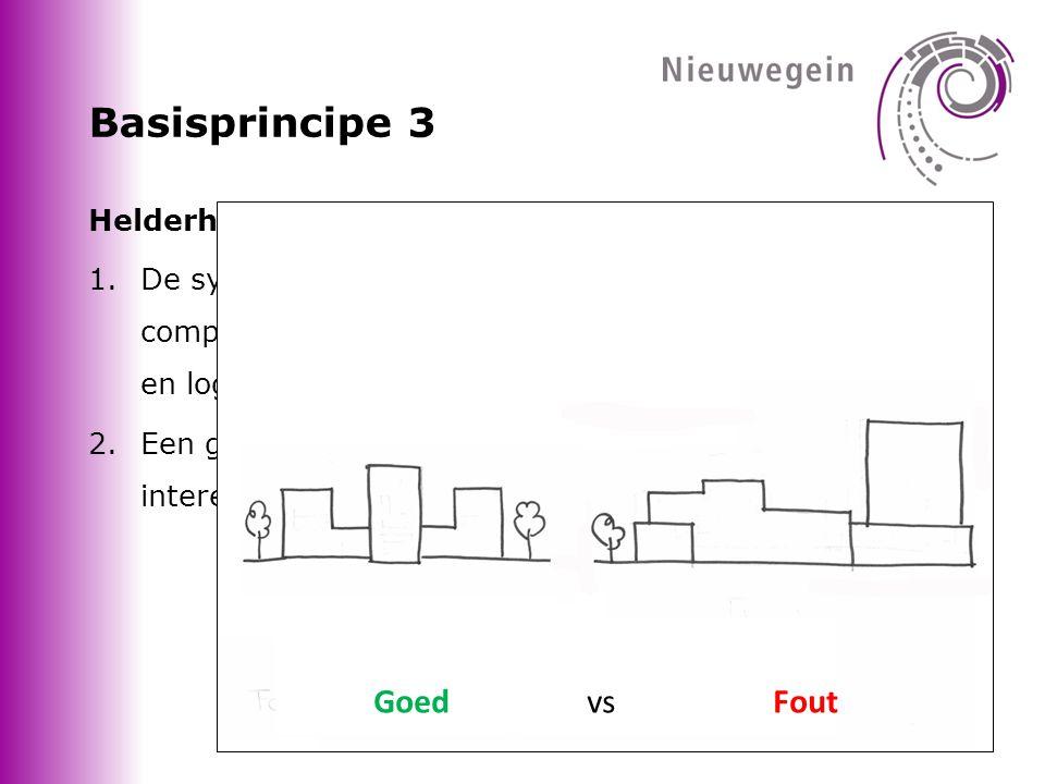 Basisprincipe 3 Helderheid en complexiteit van de compositie 1.De symmetrie, ritmiek, schaal en samenhang in de compositie van de gebouwelementen zijn helder, rustig en logisch.