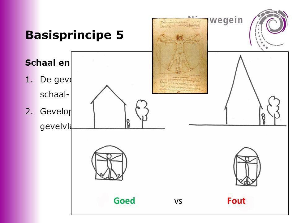 Basisprincipe 5 Schaal en maatverhoudingen 1.De gevelvlakken worden nader ingevuld in een juiste schaal- en maatverhouding.