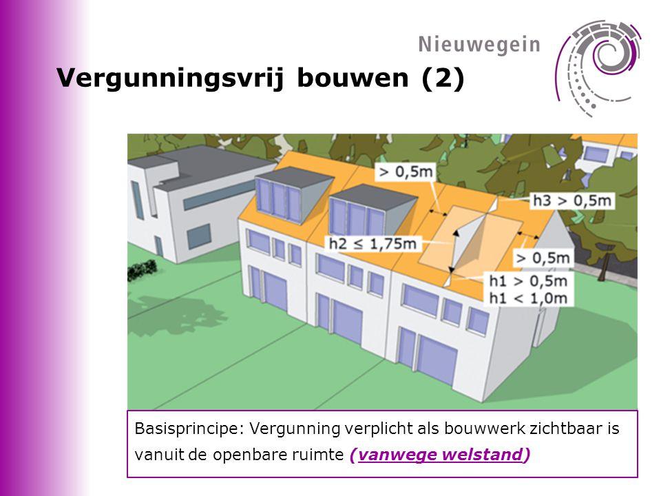 Vergunningsvrij bouwen (2) Basisprincipe: Vergunning verplicht als bouwwerk zichtbaar is vanuit de openbare ruimte (vanwege welstand)