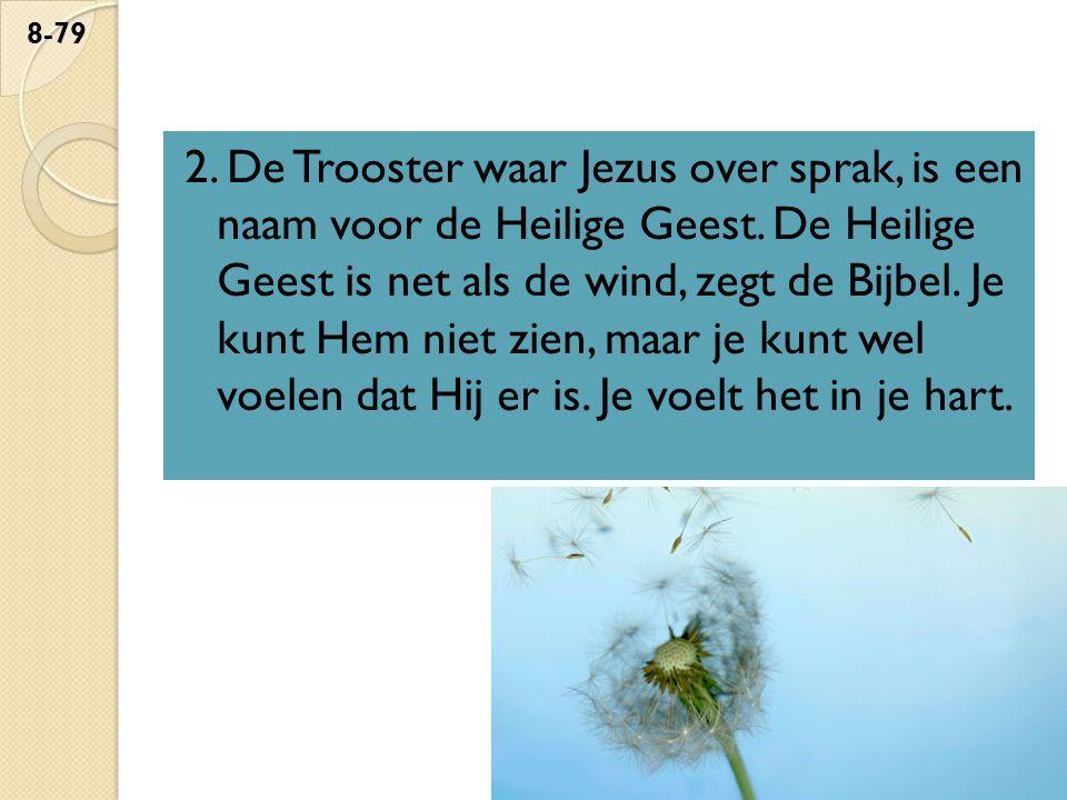 2. De Trooster waar Jezus over sprak, is een naam voor de Heilige Geest. De Heilige Geest is net als de wind, zegt de Bijbel. Je kunt Hem niet zien, m