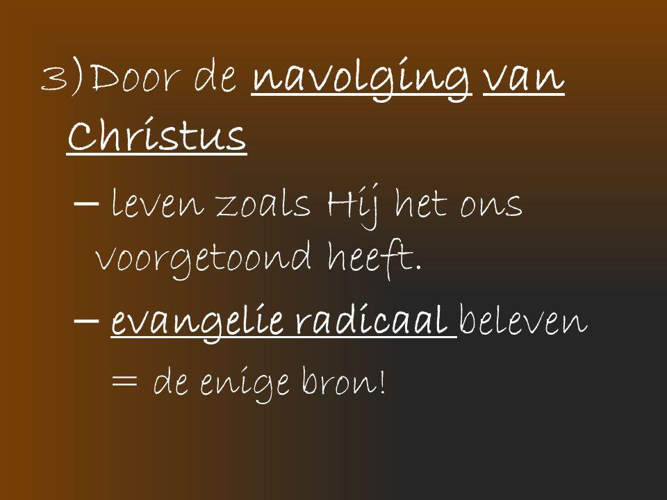 3)Door de navolging van Christus – leven zoals Hij het ons voorgetoond heeft. – evangelie radicaal beleven = de enige bron!