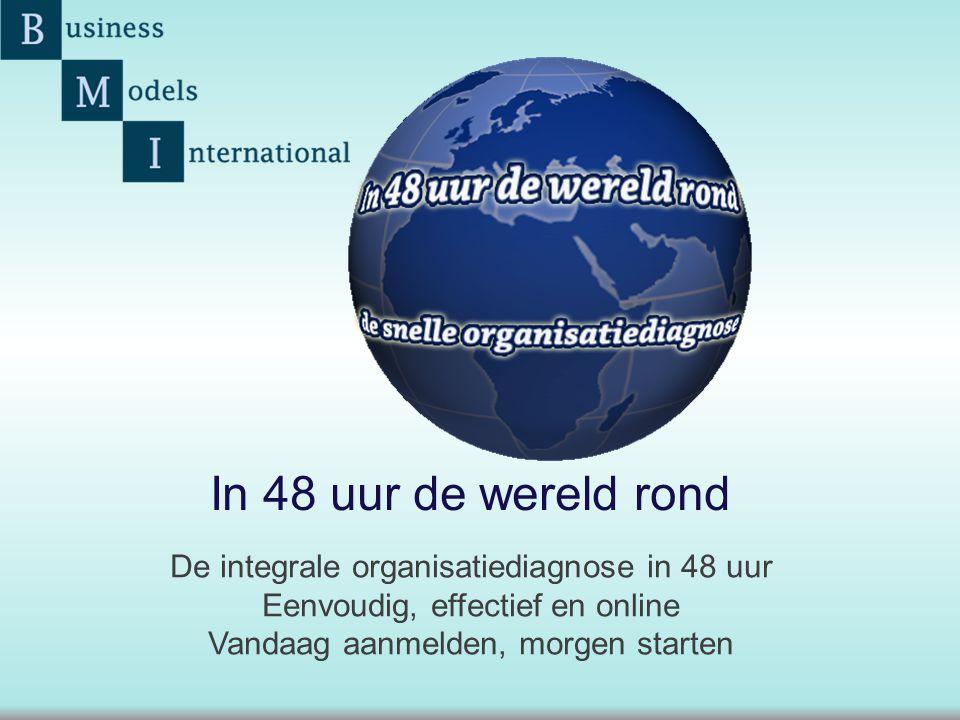 De integrale organisatiediagnose in 48 uur Eenvoudig, effectief en online Vandaag aanmelden, morgen starten In 48 uur de wereld rond