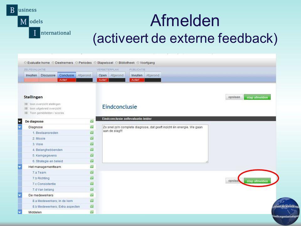 Afmelden (activeert de externe feedback)