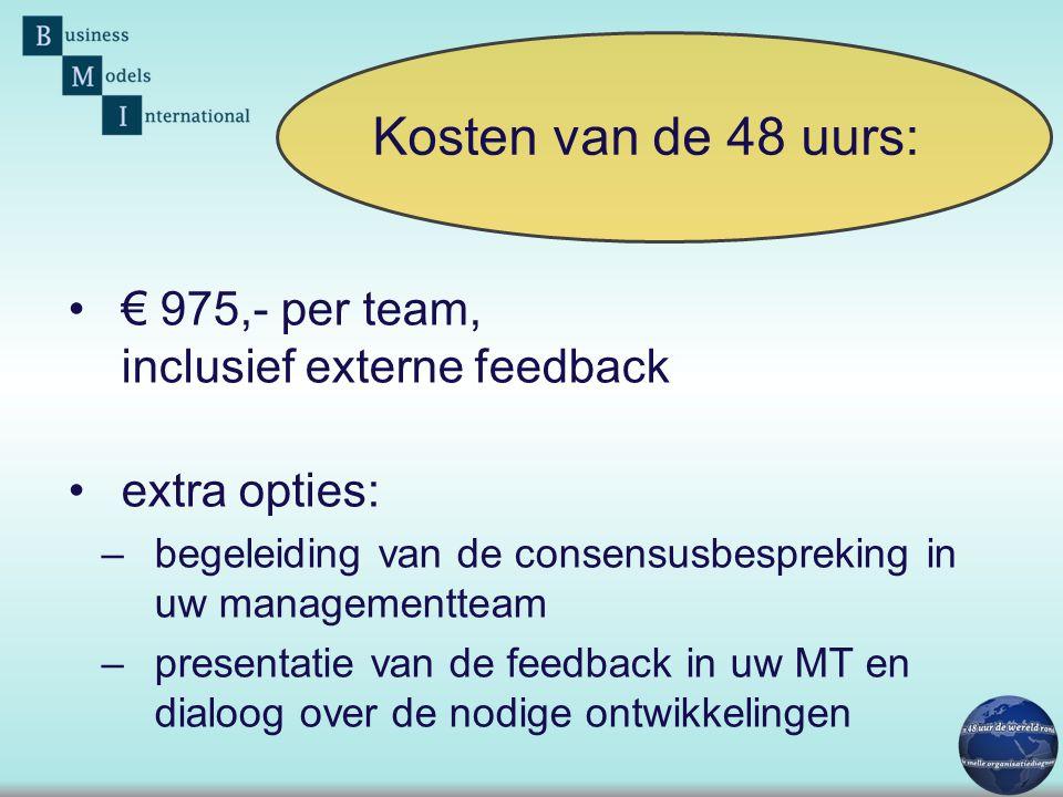 •€ 975,- per team, inclusief externe feedback •extra opties: –begeleiding van de consensusbespreking in uw managementteam –presentatie van de feedback