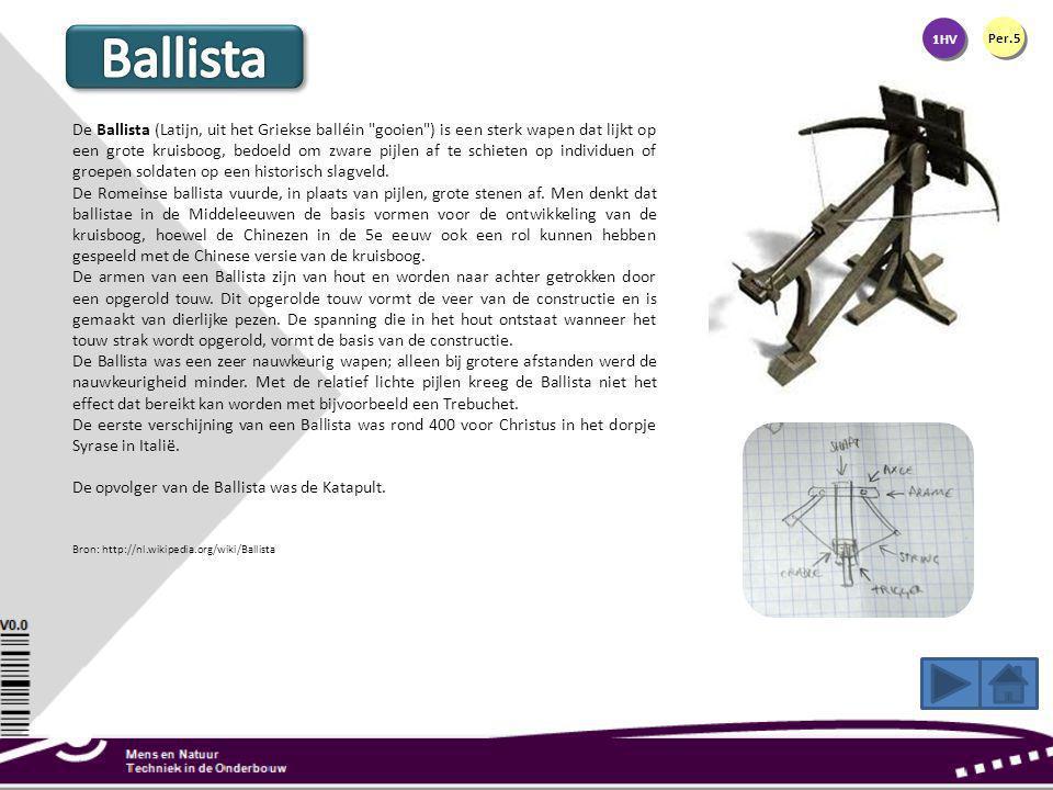 1HV Per.5 De Ballista (Latijn, uit het Griekse balléin