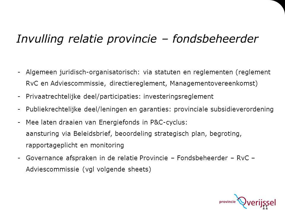 11 Invulling relatie provincie – fondsbeheerder -Algemeen juridisch-organisatorisch: via statuten en reglementen (reglement RvC en Adviescommissie, di