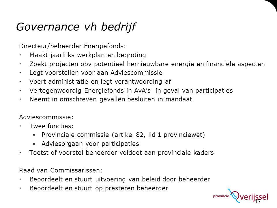 13 Governance vh bedrijf Directeur/beheerder Energiefonds:  Maakt jaarlijks werkplan en begroting  Zoekt projecten obv potentieel hernieuwbare energ