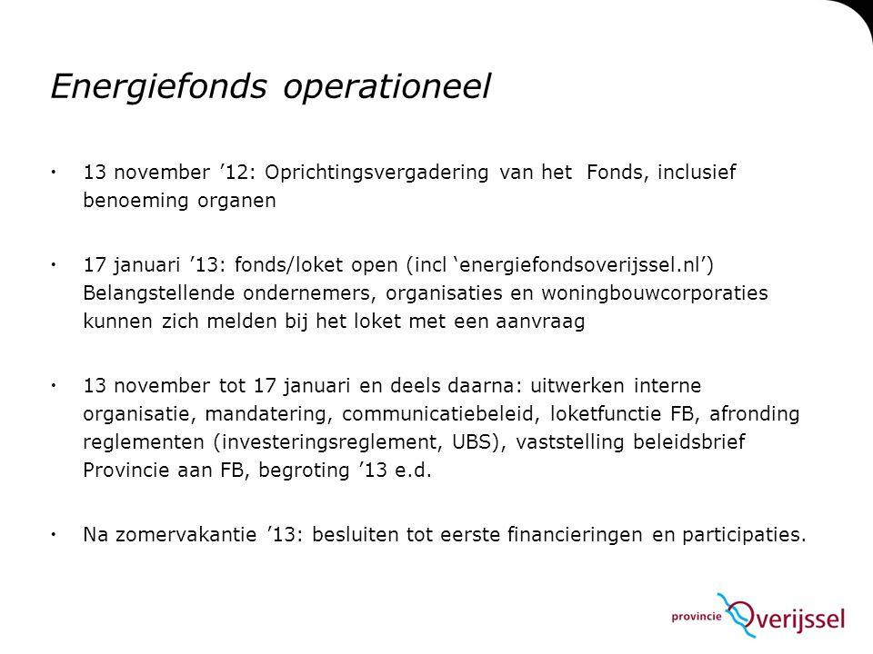 Energiefonds operationeel  13 november '12: Oprichtingsvergadering van het Fonds, inclusief benoeming organen  17 januari '13: fonds/loket open (inc
