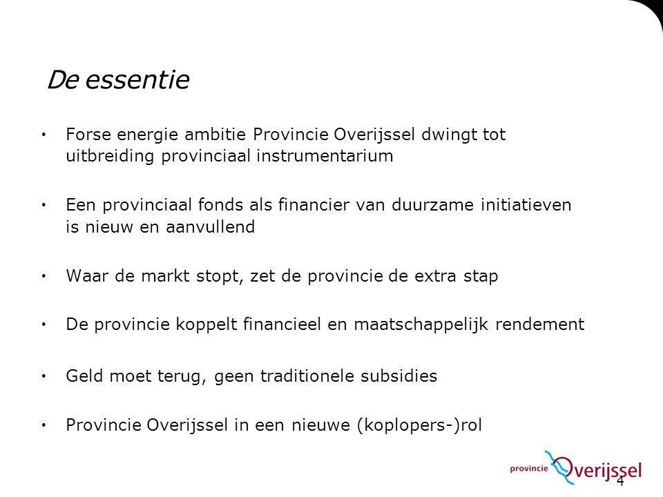 4  Forse energie ambitie Provincie Overijssel dwingt tot uitbreiding provinciaal instrumentarium  Een provinciaal fonds als financier van duurzame i
