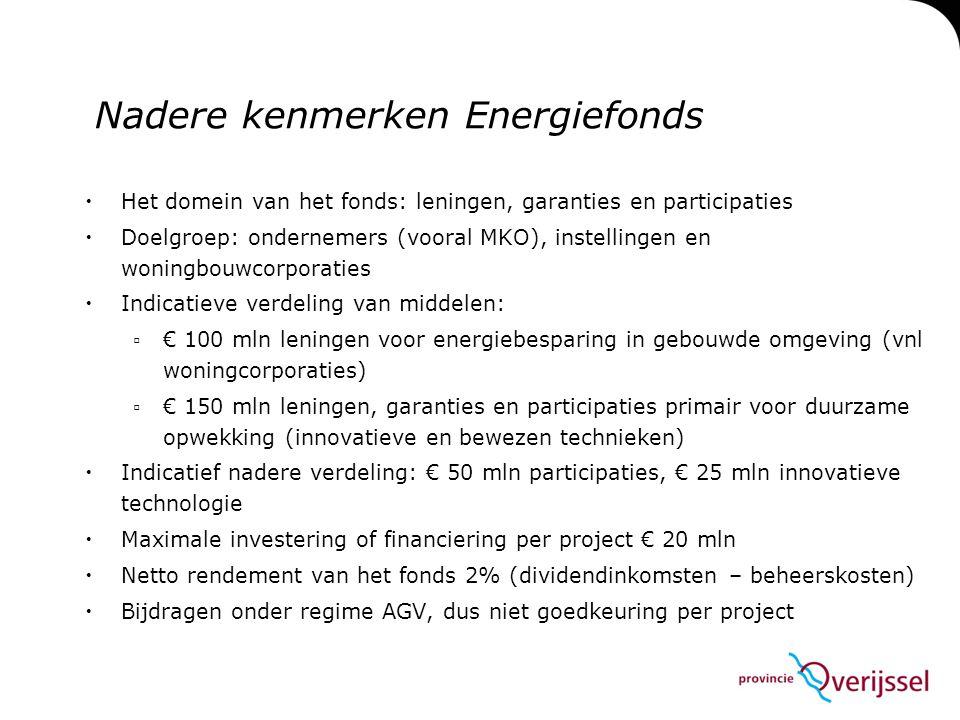  Het domein van het fonds: leningen, garanties en participaties  Doelgroep: ondernemers (vooral MKO), instellingen en woningbouwcorporaties  Indica