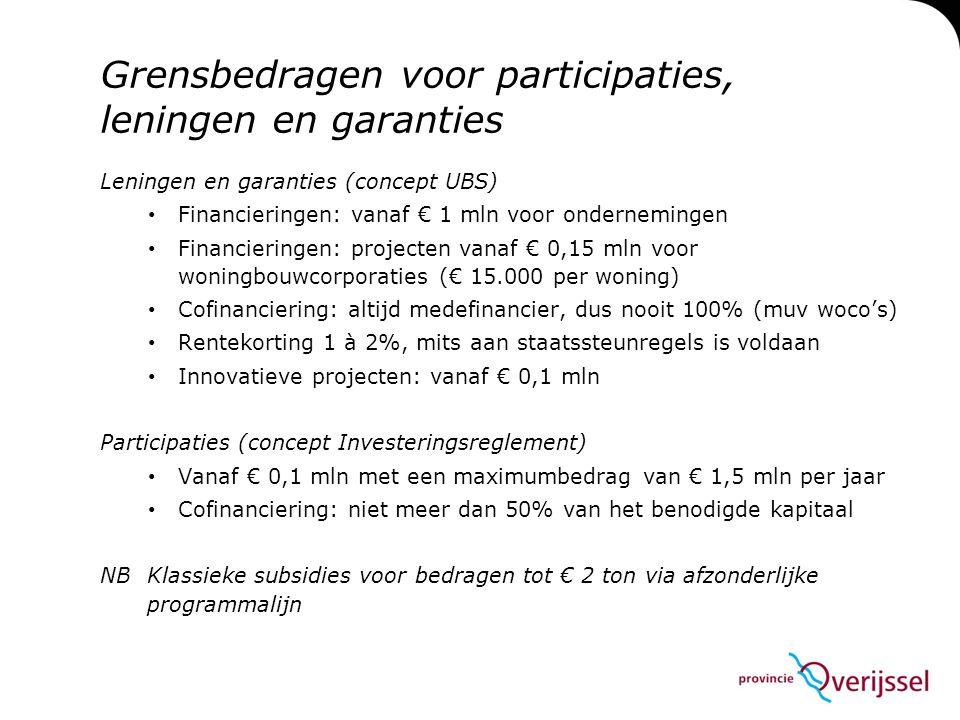 Grensbedragen voor participaties, leningen en garanties Leningen en garanties (concept UBS) • Financieringen: vanaf € 1 mln voor ondernemingen • Finan