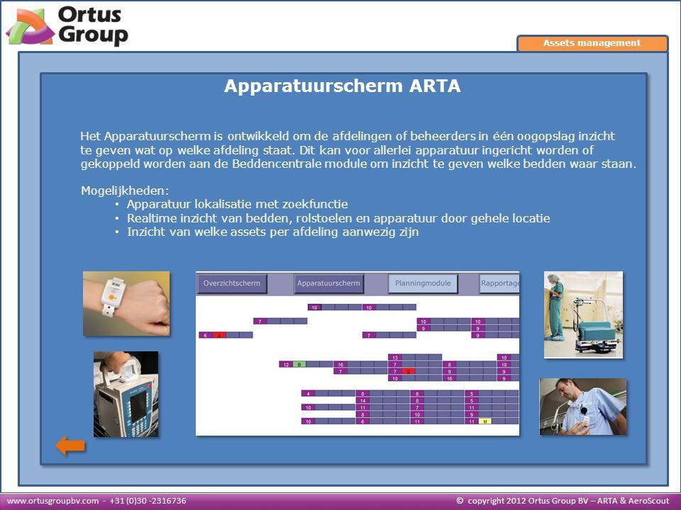 Apparatuurscherm ARTA Het Apparatuurscherm is ontwikkeld om de afdelingen of beheerders in één oogopslag inzicht te geven wat op welke afdeling staat.