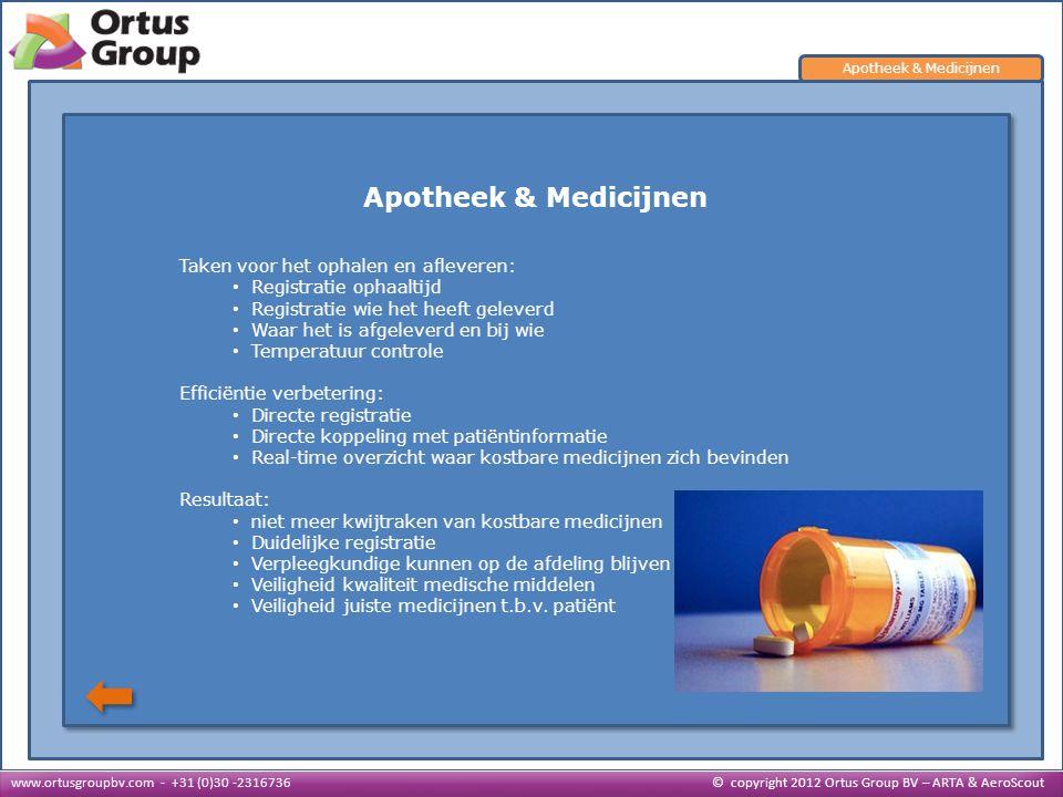 Apotheek & Medicijnen Taken voor het ophalen en afleveren: • Registratie ophaaltijd Registratie ophaaltijd • Registratie wie het heeft geleverd Regist