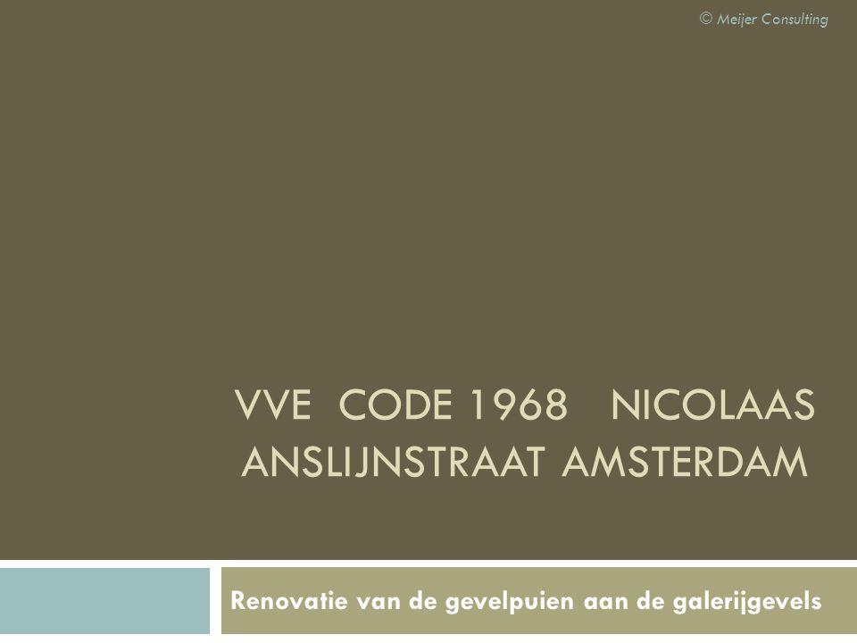 VVE CODE 1968 NICOLAAS ANSLIJNSTRAAT AMSTERDAM Renovatie van de gevelpuien aan de galerijgevels © Meijer Consulting
