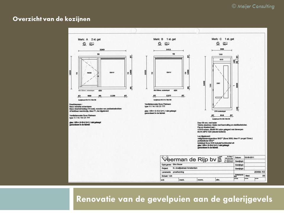 Renovatie van de gevelpuien aan de galerijgevels Overzicht van de kozijnen © Meijer Consulting