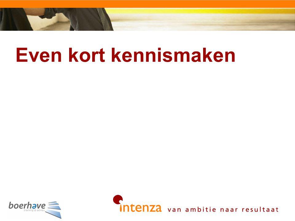 Organisatie Intenza Focus Zakelijke en financiële dienstverlening in Nederland Samenstelling Consultants/directie coaches (5), trainers/coaches/assesoren (30), presentatoren (3) Beroep Ambities realiseren met de focus op gedrag Impact vergroten van performance van mensen Passie Gedrag van mensen (én leiders) Organisaties in beweging krijgen (focus op doen, inspireren op toepassen, passie, resultaat) Motto Gedrag is dé succesfactor Van communiceren naar inspireren Boek geschrevenGedrag als succesfactor
