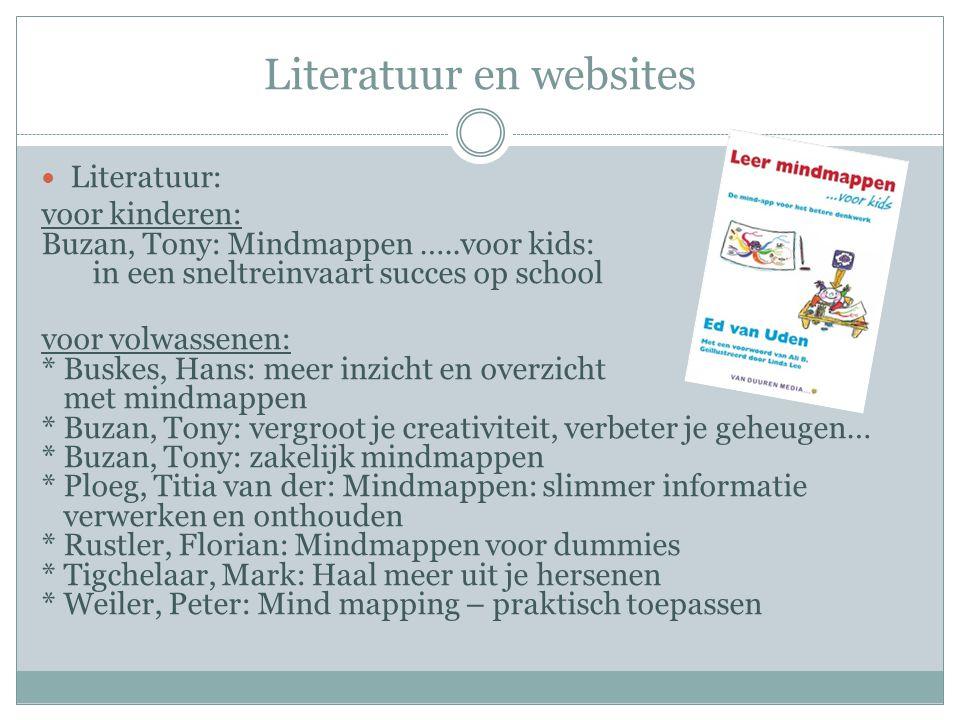 Literatuur en websites  Literatuur: voor kinderen: Buzan, Tony: Mindmappen …..voor kids: in een sneltreinvaart succes op school voor volwassenen: * B