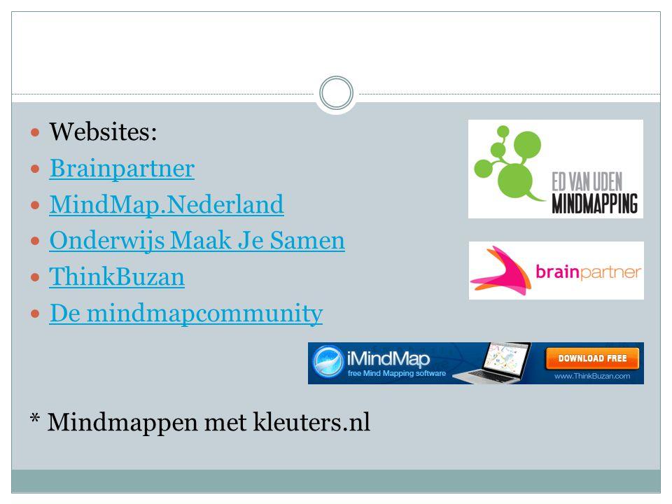  Websites:  Brainpartner Brainpartner  MindMap.Nederland MindMap.Nederland  Onderwijs Maak Je Samen Onderwijs Maak Je Samen  ThinkBuzan ThinkBuza