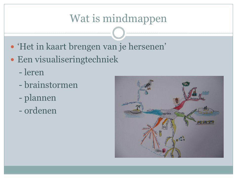 Wat is mindmappen  'Het in kaart brengen van je hersenen'  Een visualiseringtechniek - leren - brainstormen - plannen - ordenen
