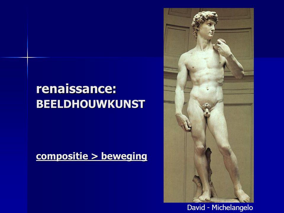 renaissance: BEELDHOUWKUNST compositie > beweging David - Michelangelo
