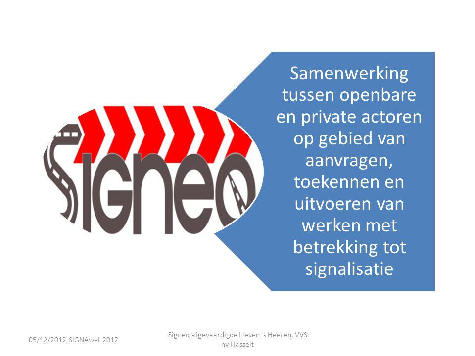 05/12/2012 SIGNAwel 2012 Signeq afgevaardigde Lieven s Heeren, VVS nv Hasselt • Kwalitatieve selectie – Referenties omtrent gelijksoortige opdrachten.