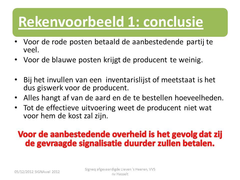Rekenvoorbeeld 1: conclusie 05/12/2012 SIGNAwel 2012 Signeq afgevaardigde Lieven 's Heeren, VVS nv Hasselt