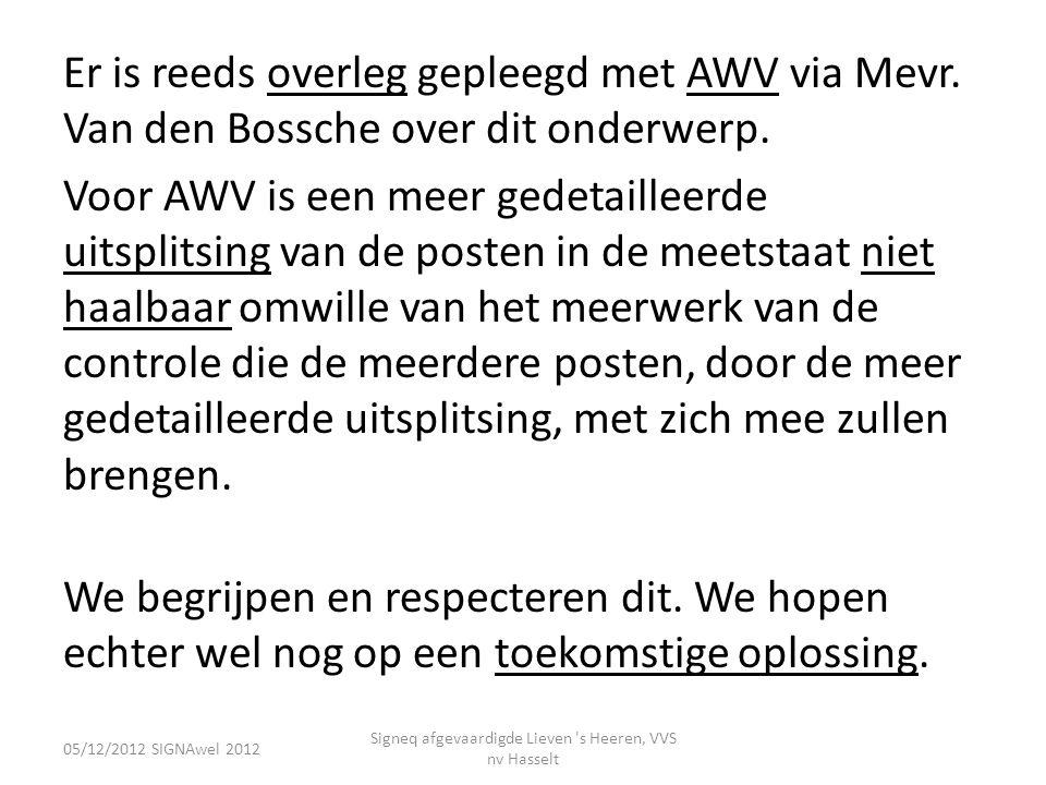 Er is reeds overleg gepleegd met AWV via Mevr. Van den Bossche over dit onderwerp. Voor AWV is een meer gedetailleerde uitsplitsing van de posten in d