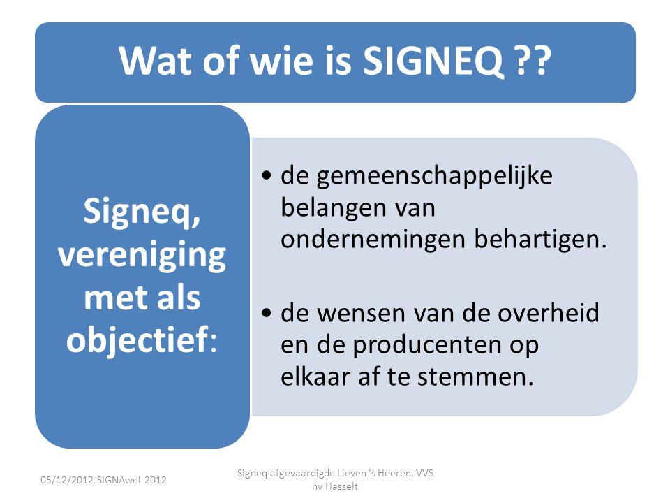Wat of wie is SIGNEQ ?? •de gemeenschappelijke belangen van ondernemingen behartigen. •de wensen van de overheid en de producenten op elkaar af te ste