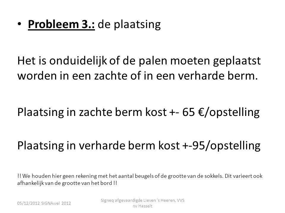 • Probleem 3.: de plaatsing Het is onduidelijk of de palen moeten geplaatst worden in een zachte of in een verharde berm. Plaatsing in zachte berm kos