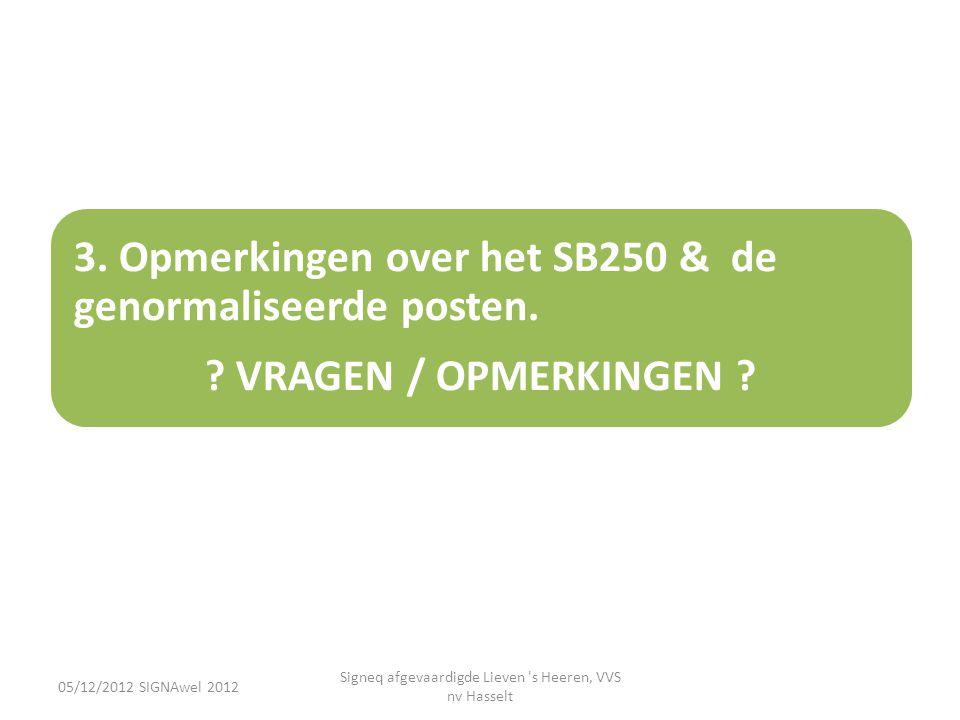 05/12/2012 SIGNAwel 2012 Signeq afgevaardigde Lieven 's Heeren, VVS nv Hasselt 3. Opmerkingen over het SB250 & de genormaliseerde posten. ? VRAGEN / O