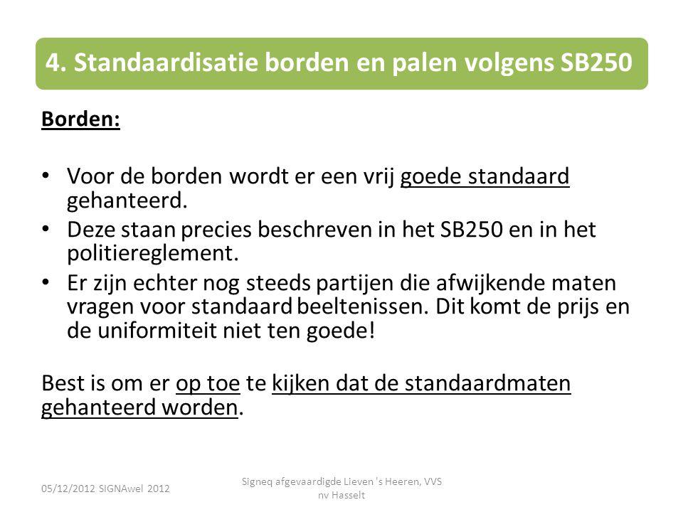 4. Standaardisatie borden en palen volgens SB250 Borden: • Voor de borden wordt er een vrij goede standaard gehanteerd. • Deze staan precies beschreve