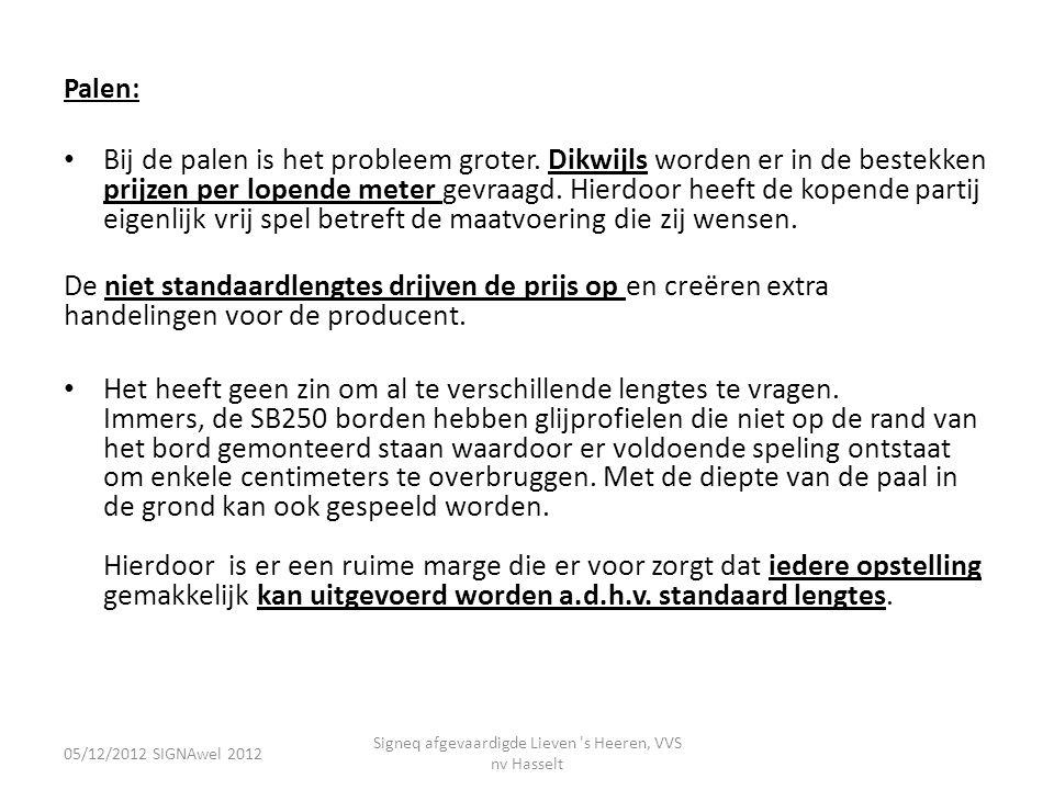 05/12/2012 SIGNAwel 2012 Signeq afgevaardigde Lieven 's Heeren, VVS nv Hasselt Palen: • Bij de palen is het probleem groter. Dikwijls worden er in de