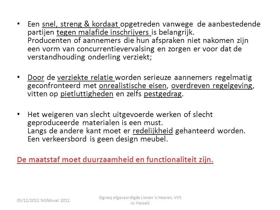 05/12/2012 SIGNAwel 2012 Signeq afgevaardigde Lieven 's Heeren, VVS nv Hasselt • Een snel, streng & kordaat opgetreden vanwege de aanbestedende partij