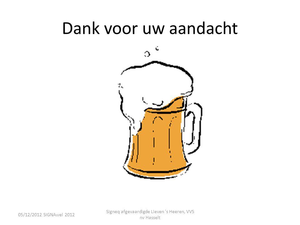 Dank voor uw aandacht 05/12/2012 SIGNAwel 2012 Signeq afgevaardigde Lieven 's Heeren, VVS nv Hasselt