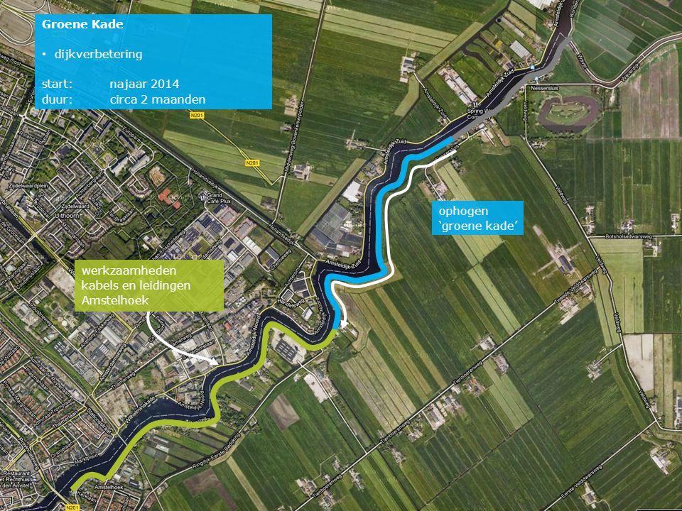 ophogen 'groene kade' werkzaamheden kabels en leidingen Amstelhoek Groene Kade • dijkverbetering start:najaar 2014 duur: circa 2 maanden