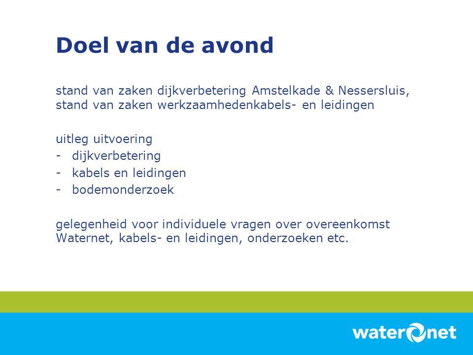 Doel van de avond stand van zaken dijkverbetering Amstelkade & Nessersluis, stand van zaken werkzaamhedenkabels- en leidingen uitleg uitvoering -dijkv