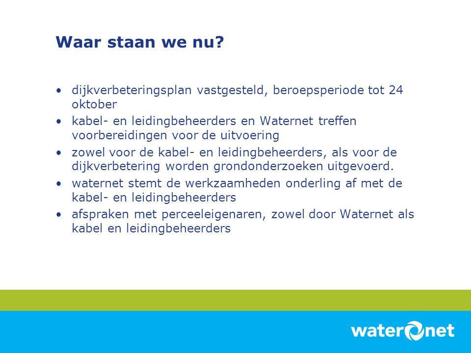 Waar staan we nu? •dijkverbeteringsplan vastgesteld, beroepsperiode tot 24 oktober •kabel- en leidingbeheerders en Waternet treffen voorbereidingen vo